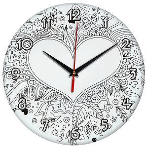 Часы раскраска Сердце 1