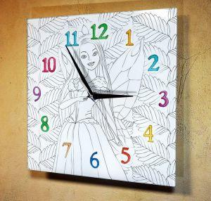 Часы раскраска Фея