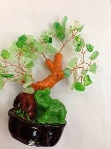 Дерево самоцветное со слонами (13см)
