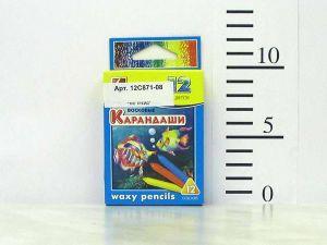 Карандаши восковые, трехгранные 12х90, 12 цветов