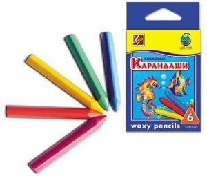 Карандаши восковые, трехгранные 12х90, 6 цветов